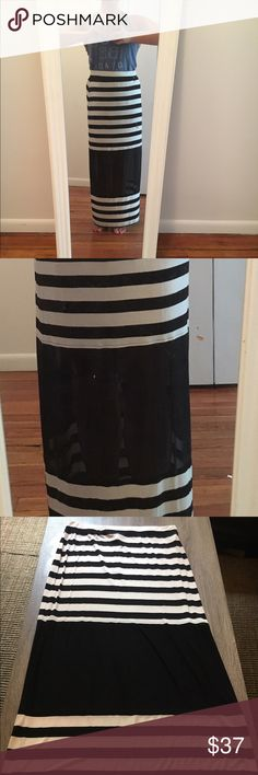Seven7 Stripped Maxi Skirt NWT Seven7 Skirt with mesh cut out. Coming from a smoke free home🏠 FREE EOS lip balm w purchase/bundle Seven7 Skirts Maxi