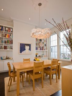 I love the idea of bookshelves in a dining area. So cozy. Dining Room With Built-in Bookshelvesread more. HGTV