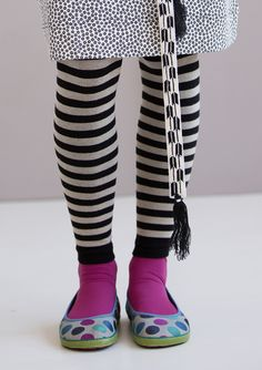 Striped leggings in cotton/nylon – BLACK & WHITE Lucky Day – GUDRUN SJÖDÉN – Webshop, mail order and boutiques | Colorful clothes and home textiles in natural materials.