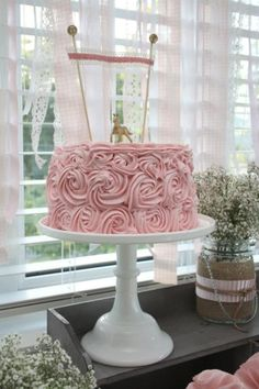 I just like the fabric/floral appearance of the cake!  Vintage Cowgirl Girl Horse Farm Pink Birthday Party Planning Ideas by PFR
