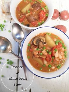 This stew is rich and hearty with creamy mini potatoes bright notes of acidity from the tomatoes buttery flavor from beans in a deliciously smooth coconut broth. Best Soup Recipes, Best Dinner Recipes, Vegetarian Recipes, Healthy Recipes, Healthy Food, Easy Cooking, Cooking Recipes, Bean Stew, Homemade Soup