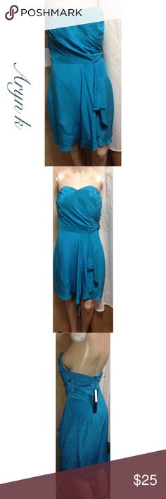 Aryn k silk dress Deep teal 100% silk  strapless dress 29inches long from top of bodice to hem. There are two of these( listed separately).Great wedding wear/ bridesmaids . Never worn , get them before the're gone! Aryn K Dresses Strapless