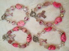 4 Breast Cancer Awareness bracelets
