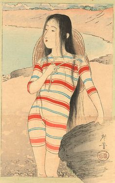 By Terazaki Ko-gyo (1866–1919), c 1915,  Beauty in bathing suit, woodblock print, ink and colour on paper, Honolulu Academy of Arts Gift of Patricia Salmon.