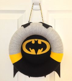 BATMAN!!!  Felt and yarn wreath