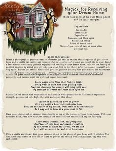 Dream Home Magic Spell Book of Shadows Wicca by steelgoddess Wiccan Witch, Wicca Witchcraft, Magick Spells, Wiccan Magic, Luck Spells, Reiki, Under Your Spell, Witch Spell, Money Spells