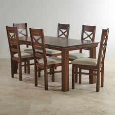 Victoria Solid Hardwood Dining Set - 6ft Table with 6 Victoria and Plain Beige Fabric Chairs