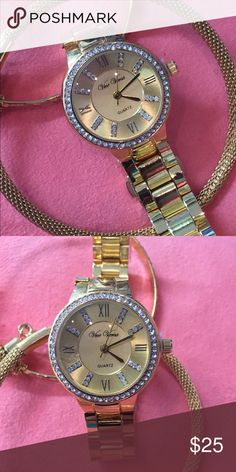 Ladies fashion time piece Gold plated watch, quartz movement watch.  Roman numerals, brilliant stones on the dial and bazel.  Beautiful fashion that you will love. Bangle not included.  Please let me know if you have any questions or concerns, Accessories Watches