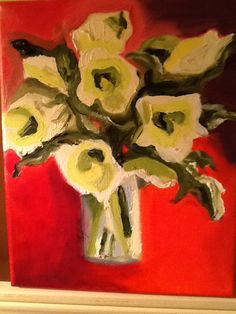 Tropical lilies in glass vase. Oil on canvas.