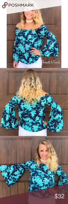 Shades of Blue Off Shoulder Blouse Stunning navy and turquoise blue Floral off shoulder Blouse. Bell sleeves. Pair with denim or skirts. Made of rayon. Size S, M, L Threads & Trends Tops Blouses
