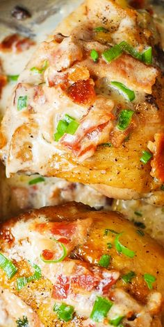 Pan-fried chicken thighs in a creamy bacon sauce with a touch of lemon! Quick and easy recipe for skin-on, bone-in chicken thighs. Gluten free dinner.