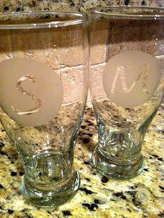 DIY: Etched Monogram Glasses <---its happening