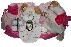 www.lacestitadelbebe.es Cesta Osito Dormilon Rosa.La cesta mas completa de toda nuestra colección, no le falta ningún detalle. A la venta en nuestra web por 129.95€