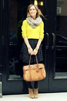 Yellow snd dots skirt