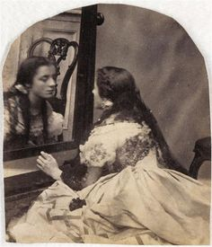 Lady Clementina Maude Hawarden Isabelle Grace Maude gazing at her reflexion, 1860s | In the Swan's Shadow