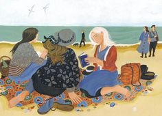 The Book Club - Greeting Card By Dee Nickerson