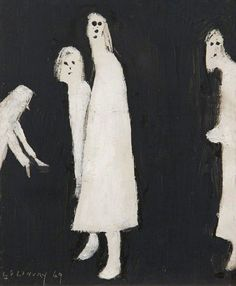 "dappledwithshadow: ""The Haunt Laurence Lowry 1969 The Lowry - Salford (Ireland) Painting - oil on board Height: 32 cm in.), Width: 29 cm in. Creepy Images, Creepy Pictures, Creepy Art, Weird Art, Arte Horror, Horror Art, Arte Lowbrow, Arte Grunge, Arte Sketchbook"