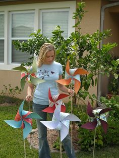 Pinwheels for a  simple decoration for an outdoor party