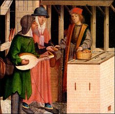 meeting medieval men Detail of  a medieval painting The seven  works of Charity around 1500 - Pinterest