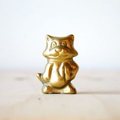 Vintage Brass Cat Holiday Figurine Cat in Winter Scarf Mid Century Modern