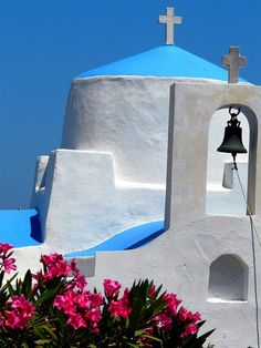 Blue dome, bell and oleanders, Serifos Island, Cyclades, Greece