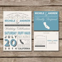 Wedding Invitation & RSVP Postcard // Rustic, Country, Typography, Western, Vintage, Destination Wedding, Printed, Modern, Unique on Etsy, $40.00