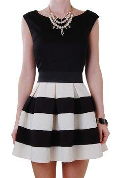 { black & white stripe skirt | HumbleChic }