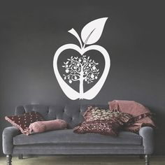 Wall Decals Tree Decal Vinyl Apple Stickers Nursery Bedroom Window Kithen Room Home Decor Nature Art Murals ** You can find more details by visiting the image link. (This is an affiliate link)