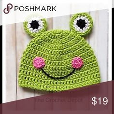 Froggy Beanie This froggy beanie is one of many character hats we make.  We currently have one in stock, but will make more as custom orders come in.  This hat can be made in different sizes.. Baby, Child and adult... each size changes in price.  Please ask for more info. Amanda DePastino Accessories Hats