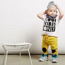Hot Sale New Casual Baby Clothes Sets Toddler Baby Summer Wear Letter Print Cute Shirt with Yellow Long Pants Outfits Clothes(China (Mainland))