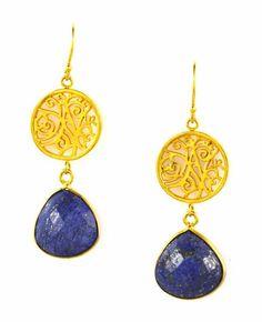 Earrings in Gold Lapis Lazuli - Lisa Robin Jewelry Earrings  25% off ALL Earrings for Mother's Day!  EARRINGS25 •3/29/17-5/14/17