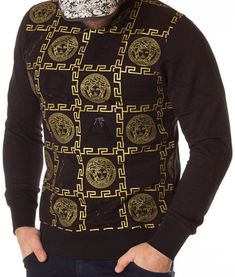 Versace Bluza Logo Printed AW2010 - Neagra | Bluze | Bluze | Brande Donatella Versace, Gianni Versace, Christopher Kane, Men Sweater, Printed, Logos, Sweaters, Fashion, Haute Couture