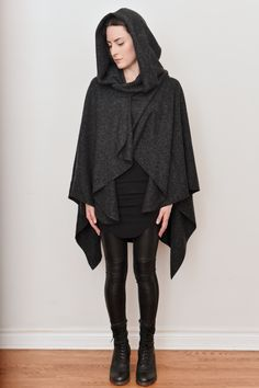 Image of Mythic Hooded Wool Cape, Heather Grey