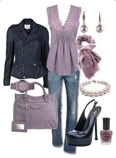 Jeans and lavender lilac casual outfit