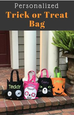 Personalized Trick or Treat Candy Bag | Halloween Tote Bag | Kids Halloween Bag #affiliatelink