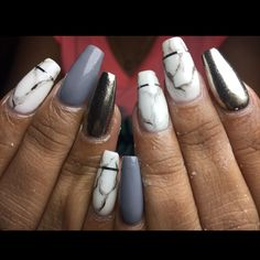 Here is a combination of matte color in marble design with glossy paint on one nail. So fine that you can see yourself in it. Prom Nails, Long Nails, Coffin Nails, Acrylic Nails, Glossy Paint, Marble Nail Designs, Silver Nails, Marble Nails, Perfect Nails