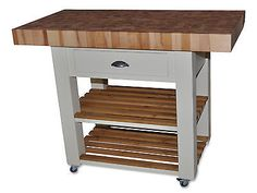 Butchers Block Kitchen Island , Trolly With Double Overhang 120cm X 60cm