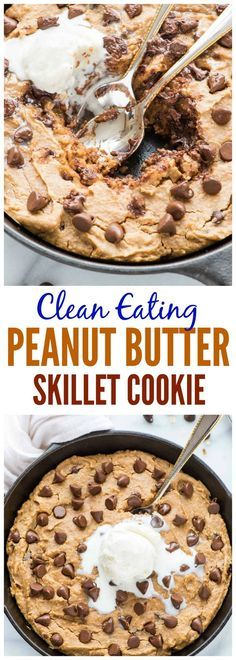 Clean Eating Peanut Butter Skillet Cookie. NO butter, sugar, or oil, and it tastes incredible. This is the BEST healthy peanut butter cookie recipe. Dairy free and gluten free!
