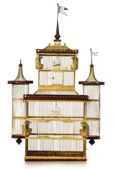 Victorian polychrome painted birdcage, late 19th/early 20th century