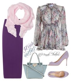 """""""#Hijab_outfits #modesty #flowery"""" by mennah-ibrahim on Polyvore featuring Zimmermann, WearAll, Love Quotes Scarves, Sergio Rossi, Valentino and plus size clothing"""