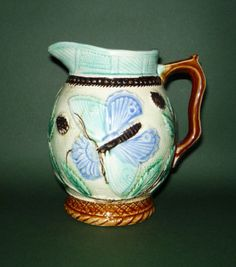 Forester's Aesthetic Movement Majolica 'Butterfly and Flower' Jug c1880