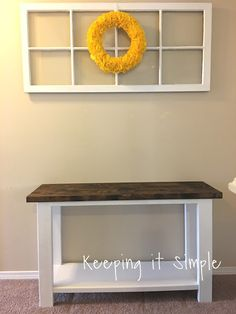 This post contains affiliate links. A couple weeks ago I decided that it was time to change up some decor in my loft area. I starte. Diy Entryway Table, Diy Sofa Table, Entry Tables, Sofa Tables, Console Table, Diy Furniture Sofa, Simple Furniture, Furniture Projects, Coaster Furniture