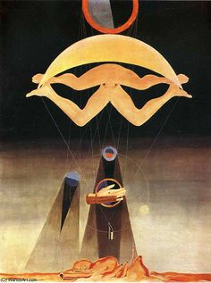 Max Ernst (1923)/ Surrealism/ Unconsciousness as a valid form of reality, show the inner workings of the mind/ This image is unreal, It is a illusive form of reality