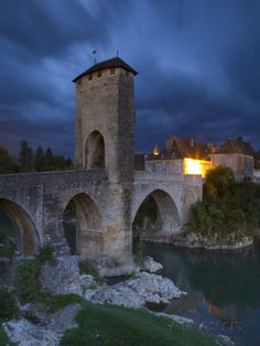 Fortified Bridge over the Gave De Pau, Orthez, Pyrenees-Atlantiques, Aquitaine, France