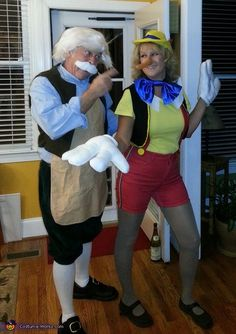 Pinocchio caught in a lie. Geppetto and Pinocchio - Homemade costumes for couples