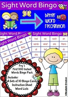 Sight Word Bingo Pack - Frys First Hundred Words from Readable Creations on TeachersNotebook.com -  (26 pages)  - Fry's First Hundred Instant Words Bingo Pack