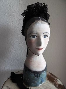 Mannequin-Marotte-tete-modiste-chapeau-Paper-fais-Head-Hotte-Shabby-France