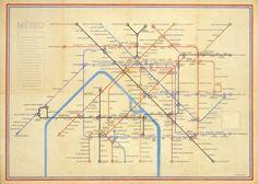 Paris Metro design by Harry Beck. Date: 1951