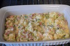 Skinke -og blomkålgrateng 1 blomkål 1 boks skinke 1 purre 1 boks philadelphia 2 dl fløte muskat, pepper og salt revet ost Del alt ...