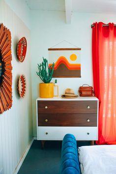 and photographer Danielle Nagel takes us inside her bold Palm Springs oasis.Designer and photographer Danielle Nagel takes us inside her bold Palm Springs oasis. 70s Bedroom, Retro Bedrooms, Mid Century Modern Bedroom, Bedroom Dressers, Bedroom Vintage, Bedroom Sets, Home Decor Bedroom, Bedroom Furniture, Furniture Design